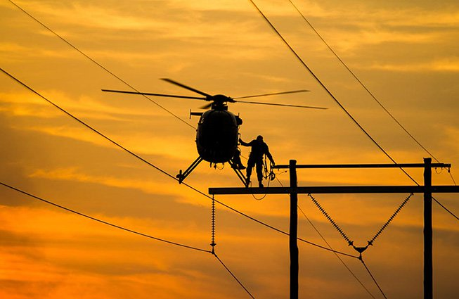 Kansas Transmission Line Construction Helicopters